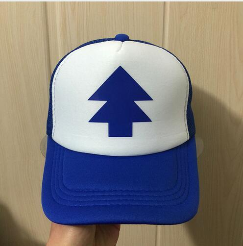 BLUE PINE TREE Trucker Cap Cartoon New Curved Bill Dipper Adult Men Women Gravity Falls snapback cap baseball hat mesh cap hat Free Shipping
