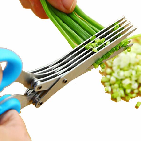 Toptan-Çok İşlevli Paslanmaz Çelik Mutfak Makas Yeşil Soğan Arpacık Yeşil Soğan Makas Dilimleme Kesici Taze Baharat Kırık Bıçak