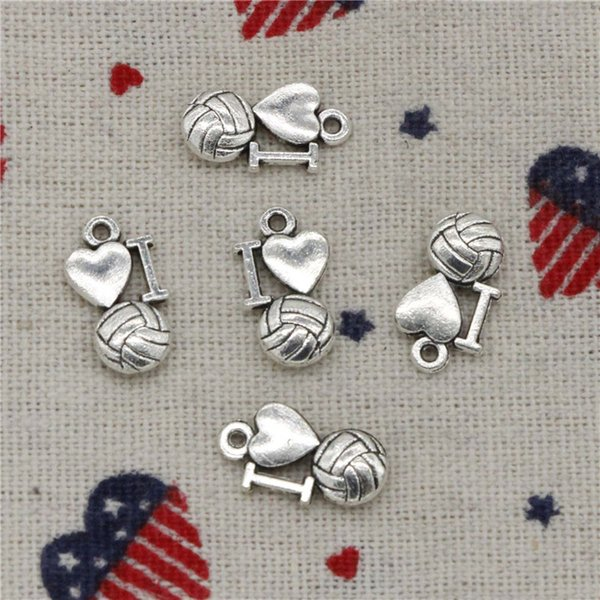126pcs Charms i love volleyball 16*9mm Antique Silver Pendant Zinc Alloy Jewelry DIY Hand Made Bracelet Necklace Fitting