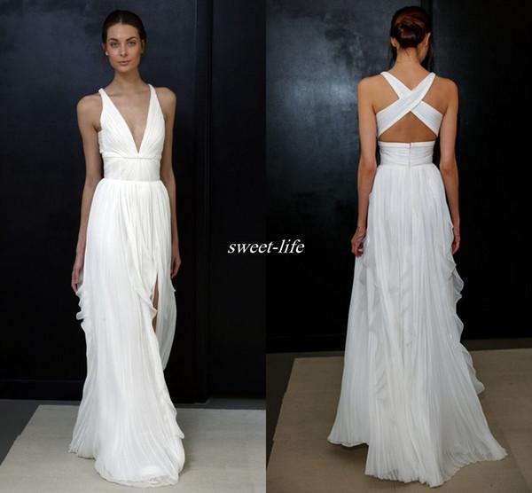 top popular 2020 Sheath Wedding Dresses Greek Goddess Brides Wear Sale Cheap Long Split Full Length Skirt Bohemian Boho Bridal Gowns 2019