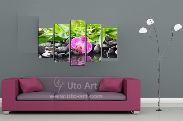 Unframed Home Decor Canvas Painting 5 Piece Canvas Art Flower Painting Canvas Prints Wall Decor Printed Painting for Living Room