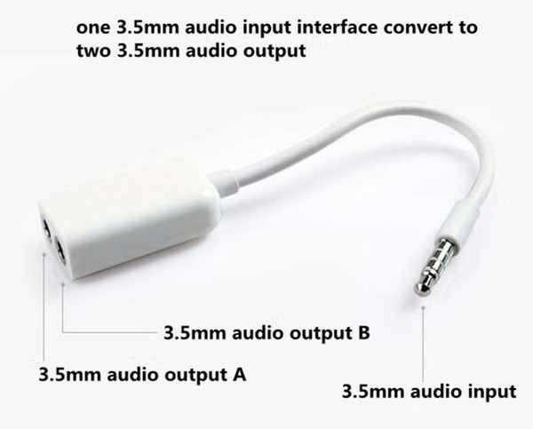 wholesale high quality 2in1 aux audio usb cable 3.5mm male to 3.5mm female headphone jack plug converter adapter cable cord universal