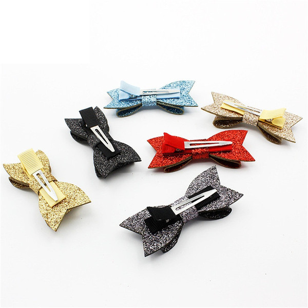 Hot Sale Handmade 24pcs Fashion Cute Glitter Hair Bow Hairpins Solid Bowknot Hair Clips Princess Headware Hair Accessories