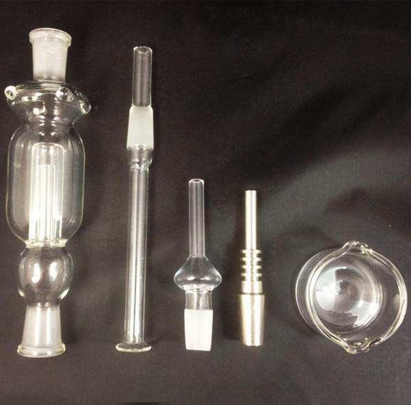 14mm Nectar Collector Kits with Gift Box Honey Straw Titanium Tip Water Smoking Pipe Bong Glass Ash Catcher Titanium Vaporizer dab oil rigs