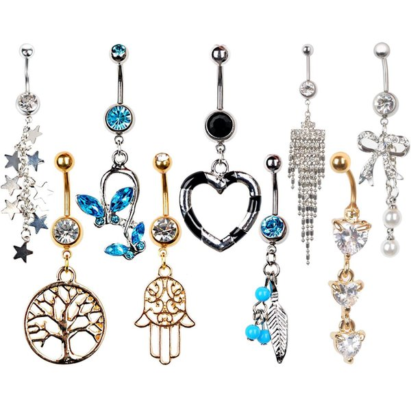Rhinestone Navel Rings Belly Button Bar Ring Dangle Body Piercing Jewelry