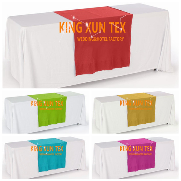 Good Looking White Color Rectangular Polyester Table Cloth With Top Colors Table Runner For Wedding And Event Decoration
