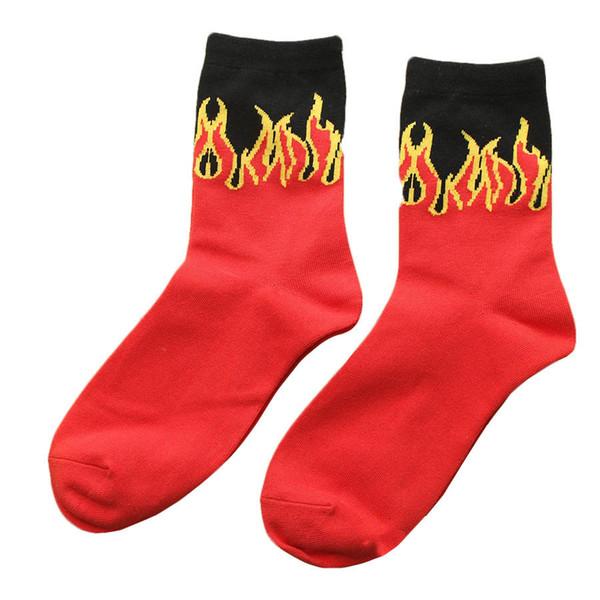 Wholesale- New Men's Red Flame Pattern Cotton Socks Skateboard Hip Hop Fashion Cool Crew Socks Brand Unisex Classic Harajuku Short Socks