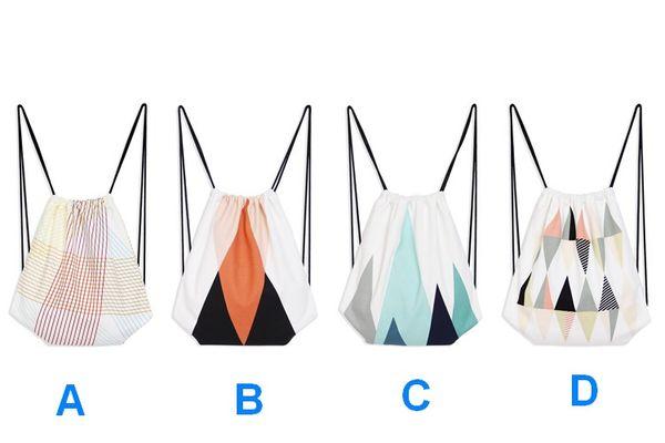 Borsa di tela semplice zaino di disegno stringa di spalle borsa artistico shopping bag due lati stampa studenti scuola draw string bag borse casual