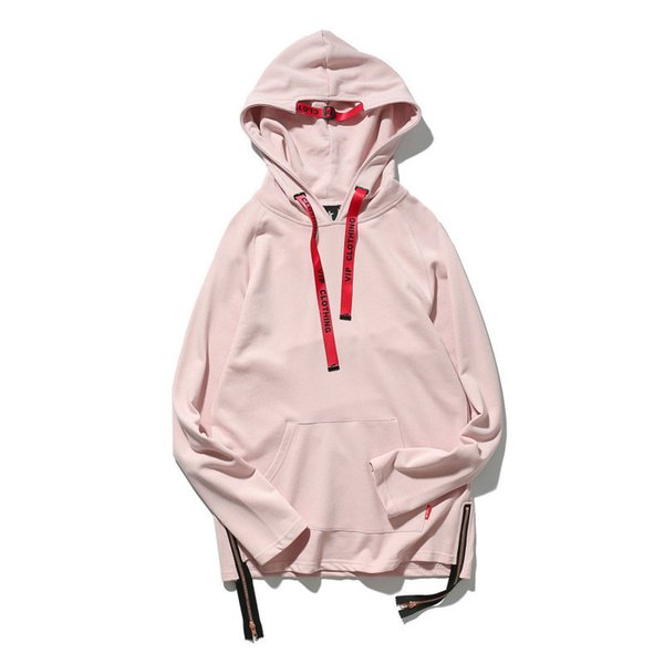 new fashion simple streetwear men's high quality hoodies black and pink personality hip-hop male clothes