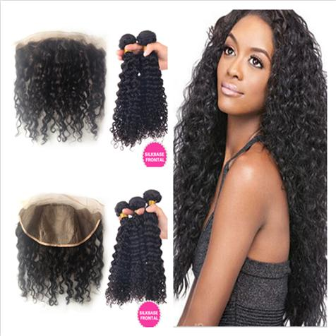 Malaysian Deep Curly Silk Base Frontal With Weaves 4Pcs Lot Deep Curly Malaysian Human Hair 3Bundles With Silk Top Lace Frontal Closure