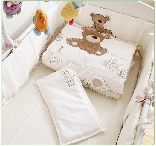 Promotion! 7PCS Embroidery cot baby Bedding set crib bed linen baby bed sheet ,(bumpers+duvet+sheet+pillow)
