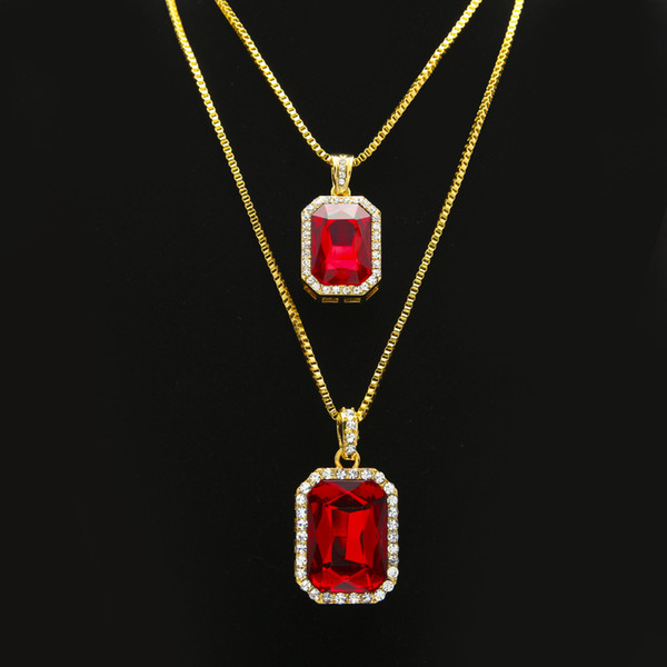 top popular 2pcs Ruby Necklace Set Silver Gold Plated Iced Out Square Red Ruby Pendant Necklace Hip Hop Jewelry Box Chain 2020