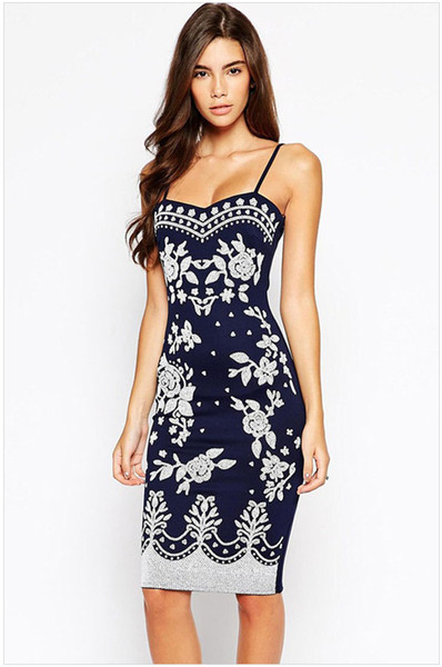 top popular Women's summer print halter backless slim package hip sleeveless one piece dresses female sexy medium length evening party wedding dress 2021