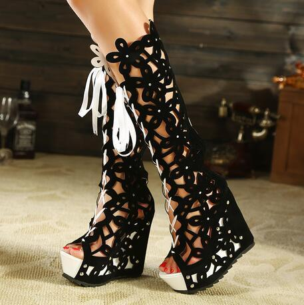 2017Superacids bandage boots sexy cutout open toe boots platform wedges cool boots women high heels pump shoes