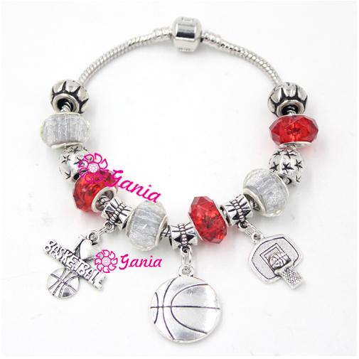 Free Shipping New Arrival DIY European Bead Style Sport Jewelry Sport I Love Basketball Charms Bracelets for Christmas Gift