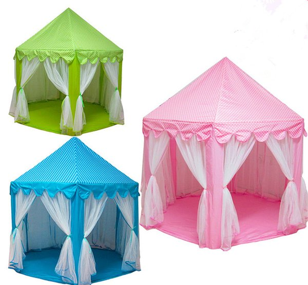 best selling Kids Princess Hexagon Tent Children's anti-mosquito playhouse Kids cute dollhouse 3colors 140*135cm EMS free shipping