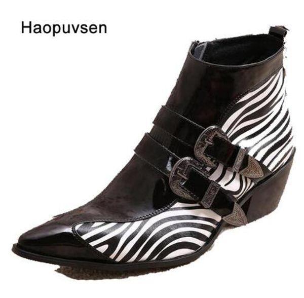 New Winter Shoes Genuine leather Men Pointed Toe Buckle Men's Dress Boots zebra strip Men Height Inceased Men's High heels size36-