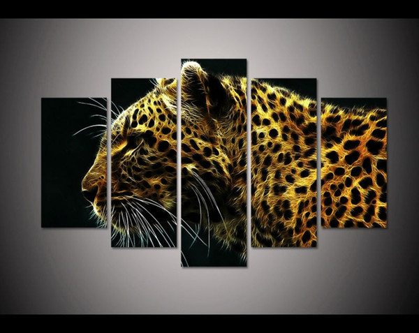 New 2017 Christmas present Modern 5 panels art leopard animal Painting on Canvas home decor wall art Print picture free shipping
