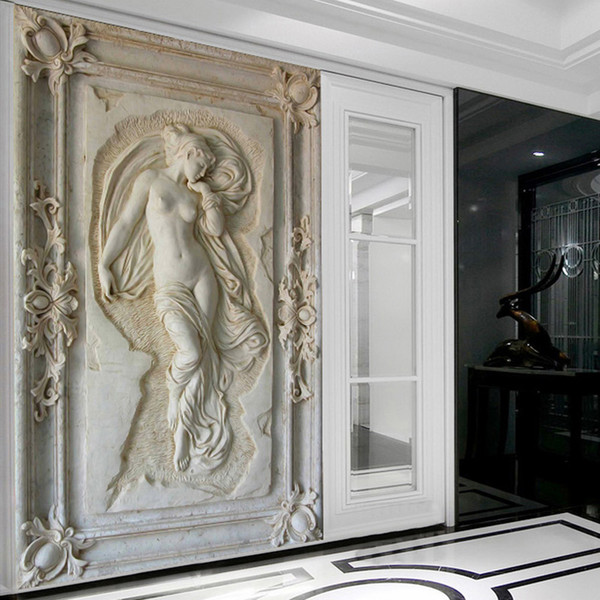 Wholesale- Customized 3D Stereoscopic Relief Angel Nude Statue Mural Wallpaper Entrance Hallway Corridor Backdrop Wallpaper Wall Covering