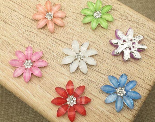 50pcs Rhinestone Crystal Daisy Flower Beads Button Flatback For Scrapbooking Craft DIY Hair Clip Accessories