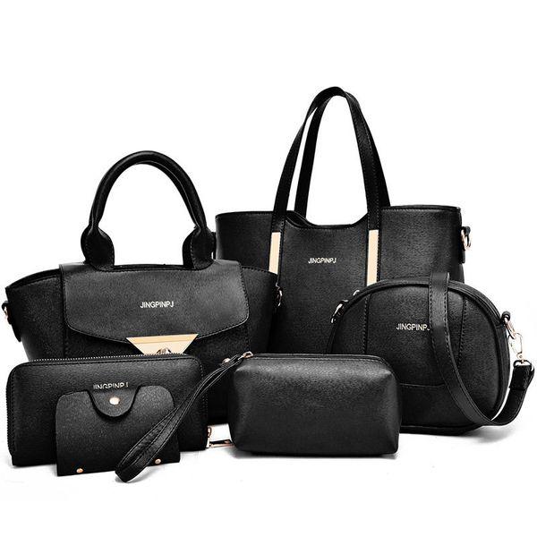 6 teile / satz Neue designer handtasche Frauen Peitsche Paket Pu-leder Taschen Krokoprägung Handtasche Mode Umhängetasche Handtasche Freies Verschiffen