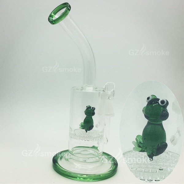 Wholesale Cute Funny Green Frog on Honeycomb weels Animal Water glass bong pipes smoking oil rigs dab Accessories Filter Bongs hookahs