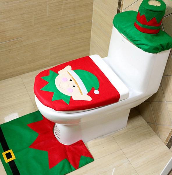 Nuevo 4 Estilos Barato Feliz Navidad Decoración Santa Elk Elf Cubierta de asiento de inodoro Alfombra Hotel Baño conjunto Mejor Navidad Decoraciones Regalos