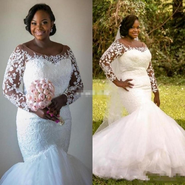 2017 Saudi African Plus Size Wedding Dresses Lace And Tulle Illusion Long Sleeves Wedding Gowns Back Covered Button Mermaid Bridal Dress