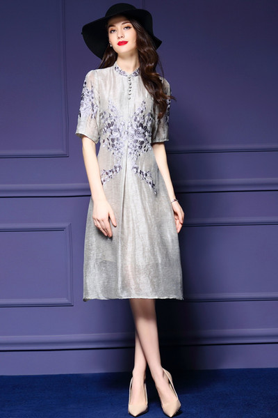 top popular women latest world fashion grace noble dresses A skirt short sleeve Embroidery linen76.7%+silk23.3% high quality 2019