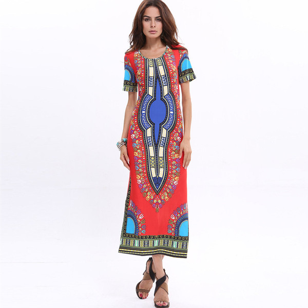 Wholesale free shipping Short Sleeve Summer African Pattern Women's Bohemian Long Ice Silk Beach Dresses plus size 3XL