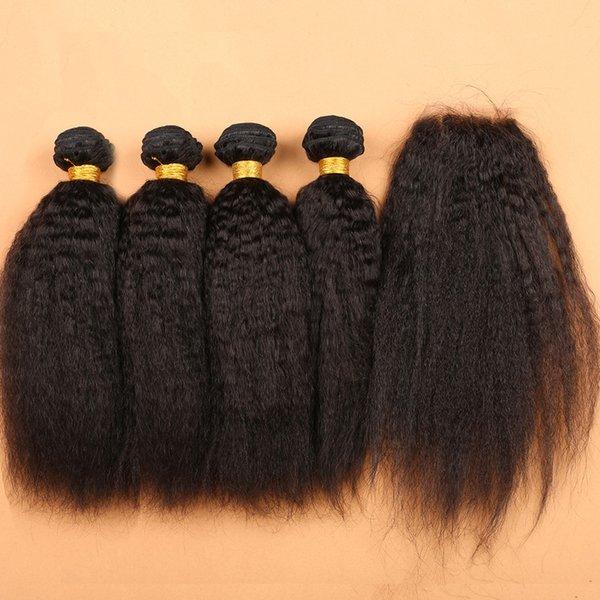 Silk Base Closure With Bundles Peruvian Kinky Straight Weave Human Hair And Silk Top Closure Italian Coarse Yaki Virgin Hair