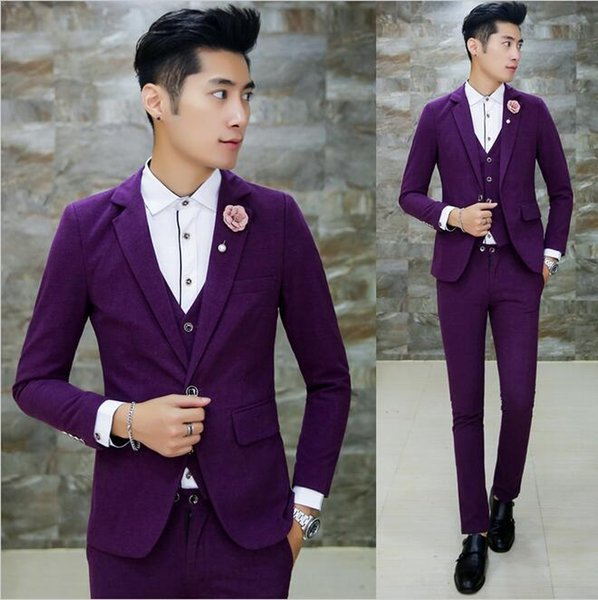 (jacket +Vest+ Pant ) Brigeroom Wedding Suit for Men Purple Prom Party Business Designer Suit Plus Size 4XL 5Xl Costume Homme