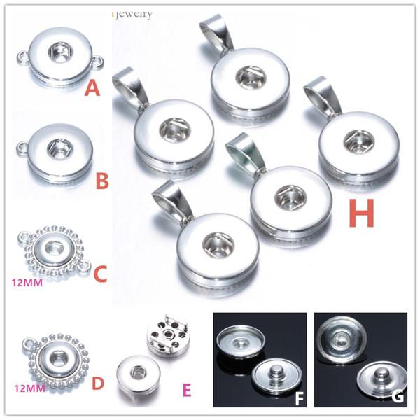 Molti stili in lega di metallo 18mm / 12mm Noosa Ginger Snap pulsante base risultati dei monili del pendente Accessori per la collana del braccialetto pulsante fai da te
