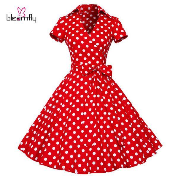 891a332281b Women Dress 2017 Summer Retro Hepburn Vestidos Vintage 50s 60s Dresses  Polka Dot Wedding party red plus size Rockabilly Clothing