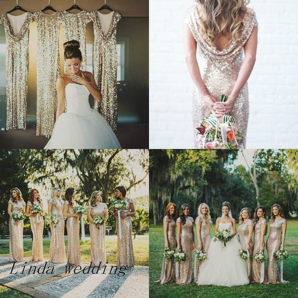 Free Shipping Gold Sequins Bridesmaid Dresses New Long Cowl Back Maid of Honor Dress Wedding Party Gown