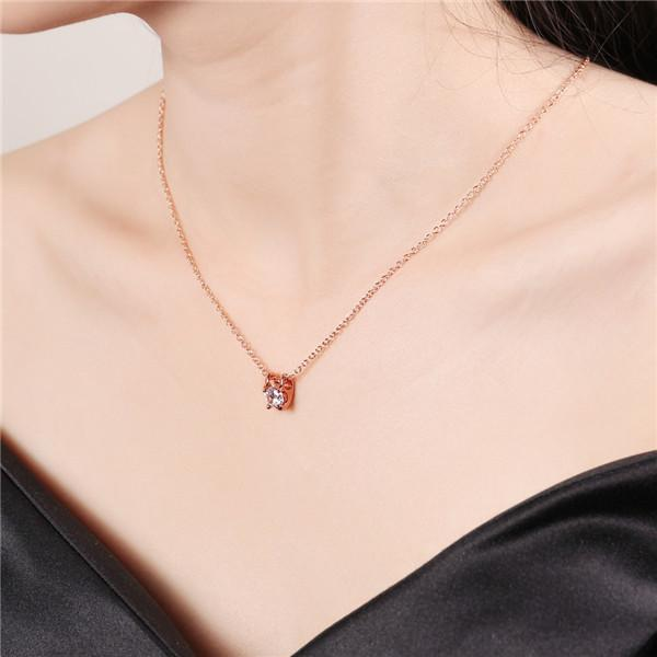 Hot sale brand new 24k 18k rose gold Pack drill Pendant Necklaces jewelry GN801-B Free shipping fashion gemstone zircon necklace