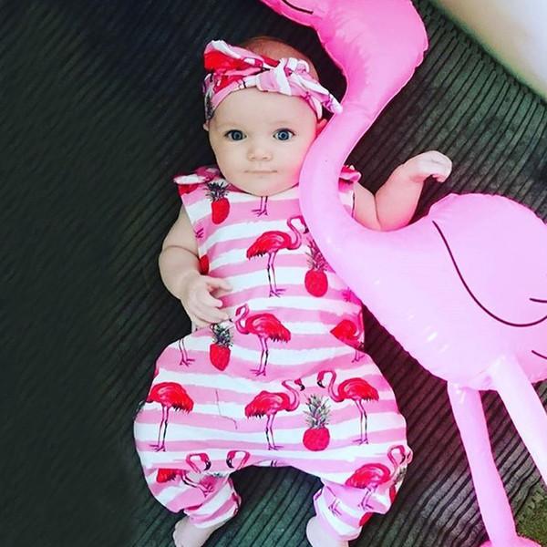 Милый Ребенок Ползунки Фламинго Печатных Детская Одежда Лето Новорожденный Девочка Комбинезон Комбинезон Хлопок Рукавов Детские Onesie One Piece Наряды
