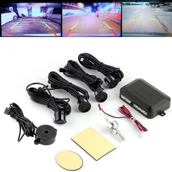 best selling DC12V LED BIBIBI Car Parking Sensor 4 Sensors Monitor Auto Reverse Backup Radar Detector System Kit Sound Alert Alarm Indicator Probe