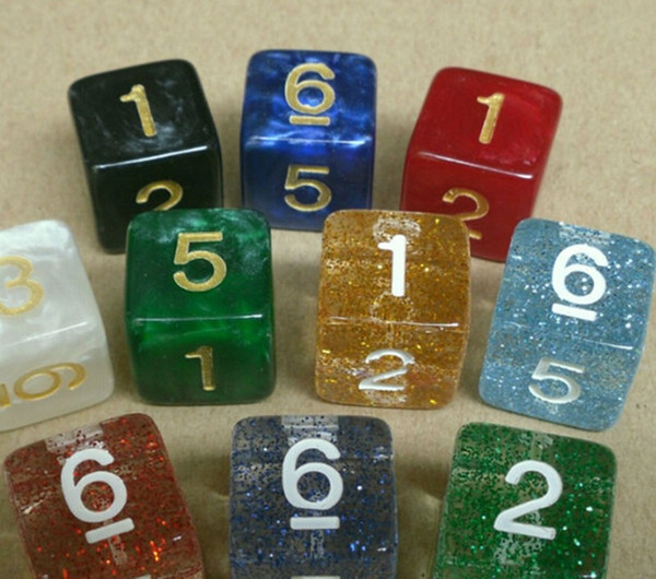 16mm Flash Powder Crystal Digital Dice Multi Colored Clear Dices Transparent Games Boson Pub Bar Drinking Game Toy High Quality #F16