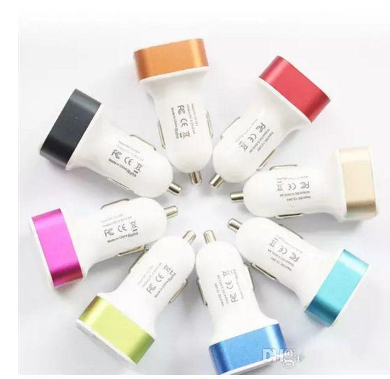 Colorful Mini Car Charger 2 ports Cigarette Dual usb car charger 2.1A Micro auto power Adapter Nipple Dual USB for Phone 6s plus samsung s7