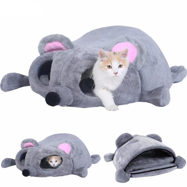 Pet Köpek Kedi Yatak Gri Fare Şekilli yuva Yastık Yumuşak Uyku Tulumu Yavru Rahat Mağara Snuggle Çuval Kitty Tünel Sarılın Kılıfı