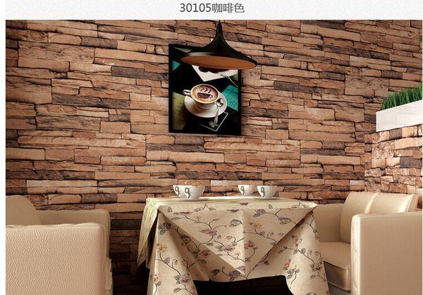 top popular Hot 3D Luxury Wood Blocks Effect Brown Stone Brick 10M Vinyl Wallpaper Roll Living Room Background Wall Decor Art Wall Paper 2021