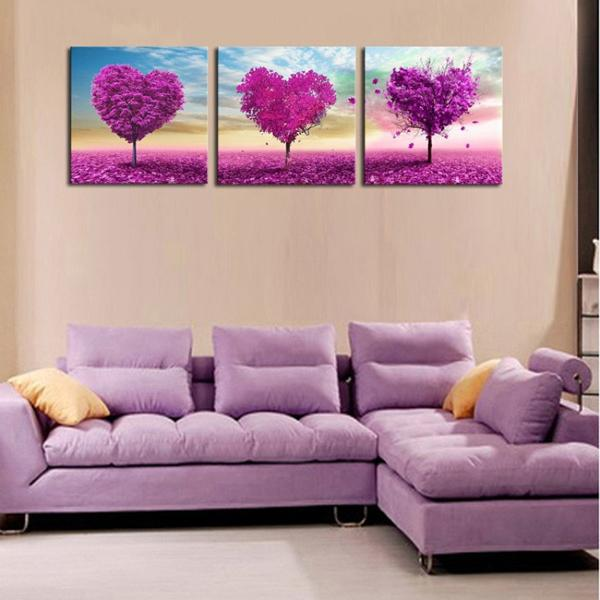 3 Pieces purple love tree abstract oil painting HD print landscape painting modern popular home decoration wall art pictures