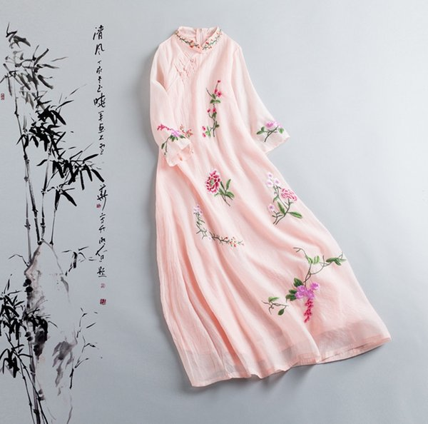 The female line seven Sen collar Sleeve Chiffon double China summer wind Fairy dress embroidery Art 1626353316