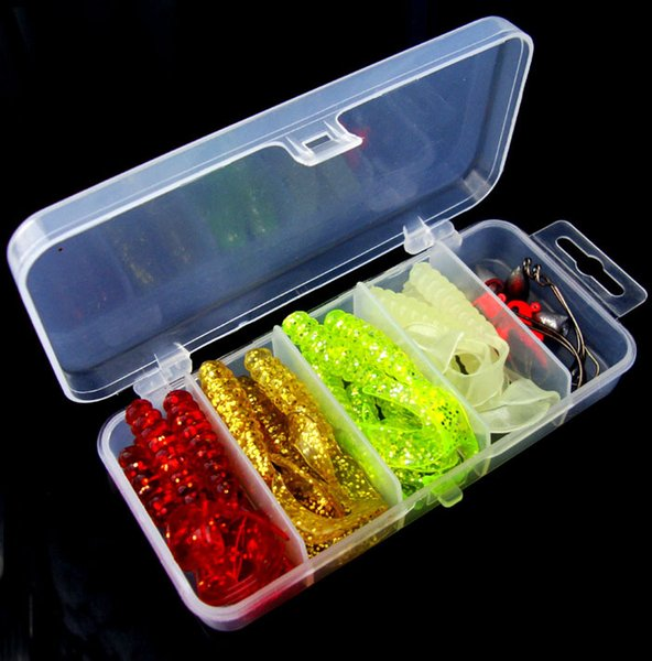 Fishing Lure Kit Soft Worm Bait Jig Head Worm Hook Weight Lead Sinker Single Tail Grub 31 Pieces Suit For Texas Rig