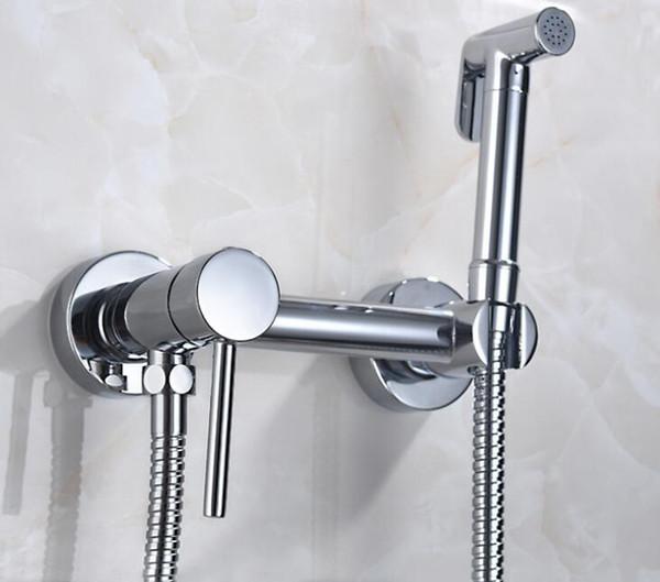 top popular Solid Brass copper Chrome Handheld shower Bidet ,Toilet Portable Bidet Shower Set With Hot and Cold Water Bidet Mixer water tap BD557 2021
