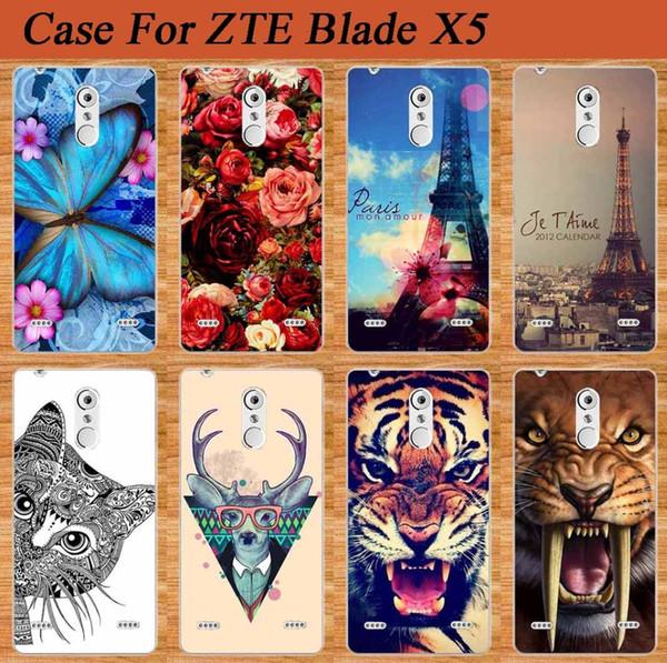 Al por mayor-Para ZTE Blade X5 D3 Funda Perfect Design Soft Tpu Volver Funda para ZTE Blade X5 Cajas del teléfono Cubrir con Owl Tiger Rose Sheer