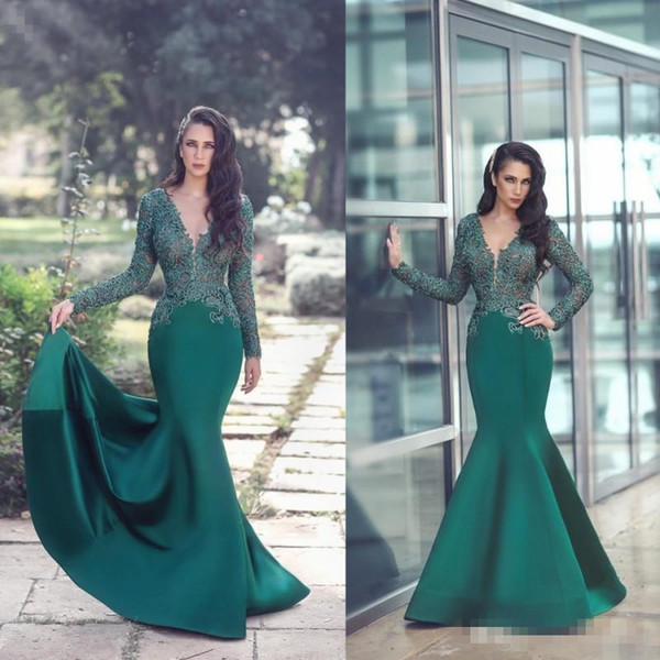 Dark Green Mermaid Formal Evening Occasion Dresses Long Sleeve Sheer V Neck Lace Cheap Plus Size Satin Prom Gowns Vestidos De Novia