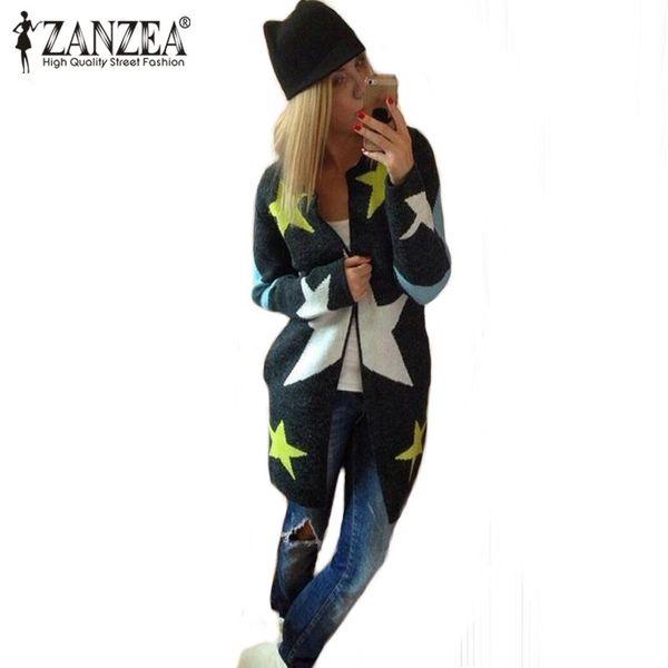 Toptan-Sonbahar Kış Kadın Yıldız Baskı Cardigans Ceket Ceket Casual Uzun Kazak Gevşek Sıcak Örme Triko Çekin Femme Tops