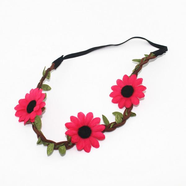 DHL Free Shipping Bohemian Style Travel garland sunflower hair band accessories Elastic hair band Wedding Hair Jewelry
